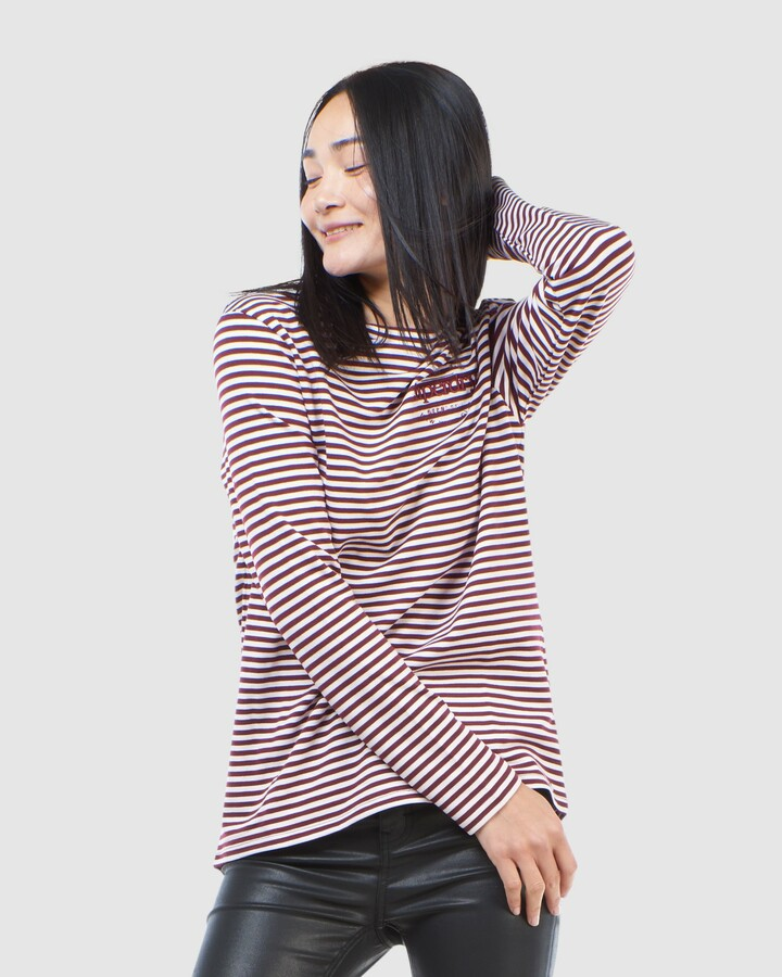 Superdry Stripe Graphic Nyc Top Deep Port Stripe