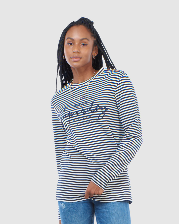 Superdry Stripe Graphic Nyc Top Nautical Navy Stripe