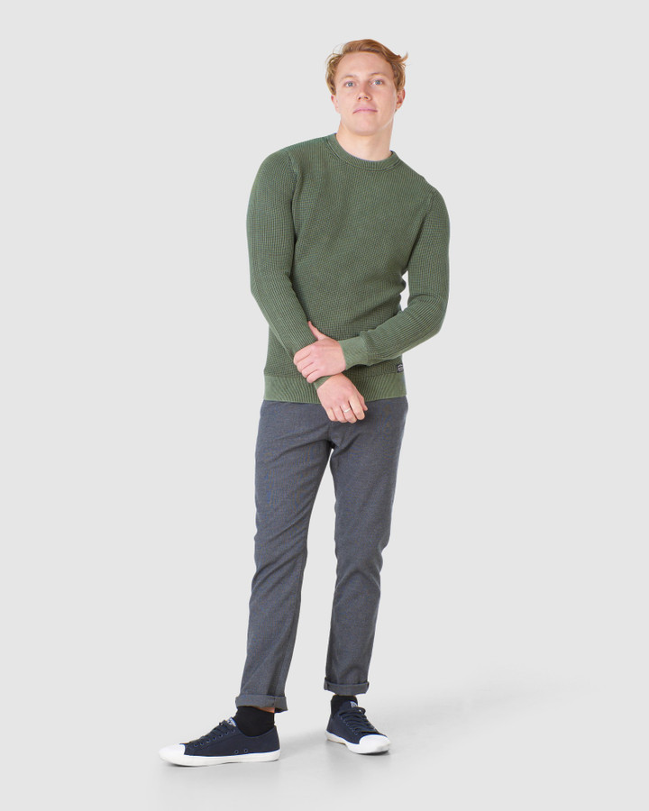 Superdry Academy Dyed Texture Crew Washed Dark Olive Green
