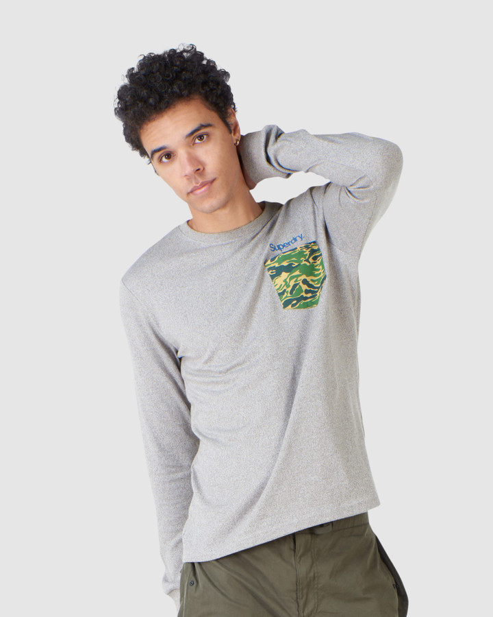 Superdry Cl Canvas Ls Top Peppered Grey Grit