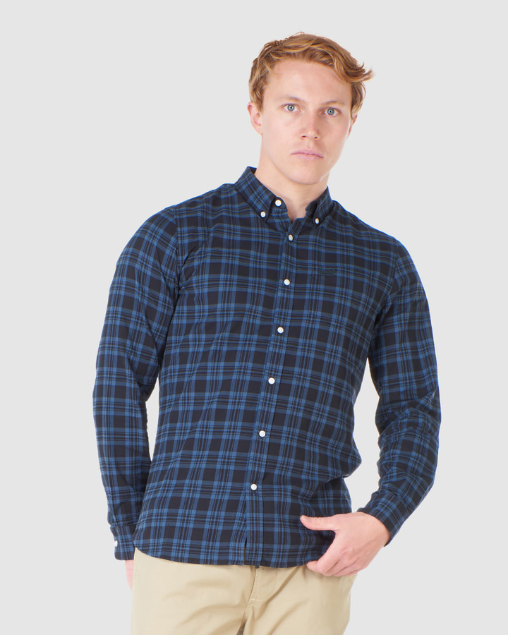 Superdry Classic London B.D. Shirt Teal Blue Check
