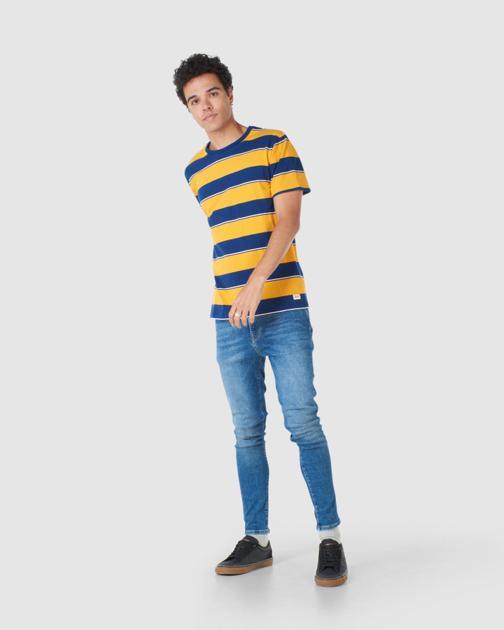 Superdry R&P Box Fit Stripe Tee Upstate Gold