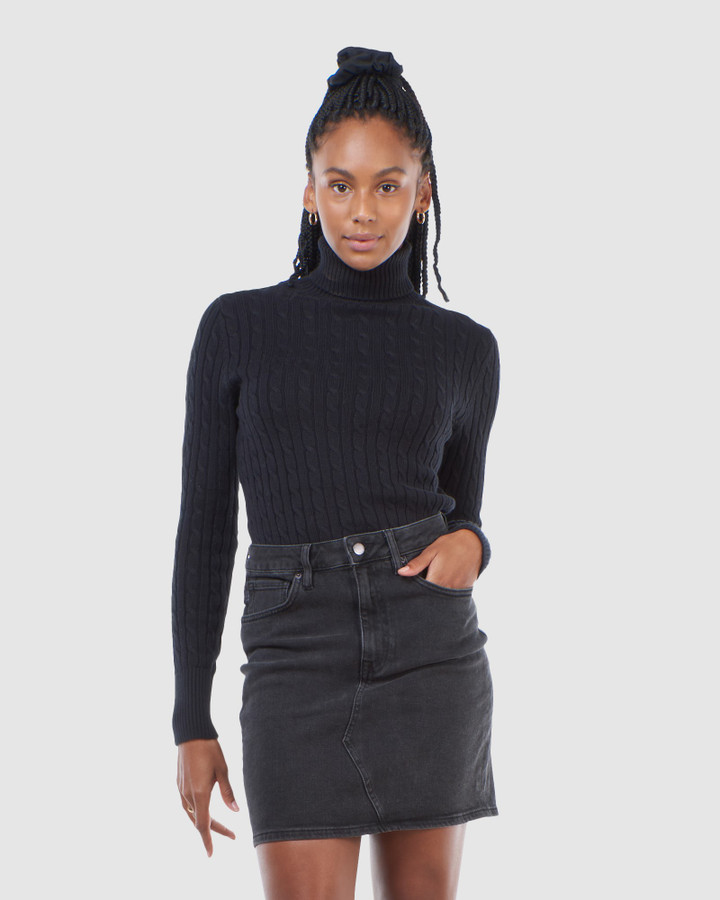 Superdry Croyde Cable Roll Neck Black