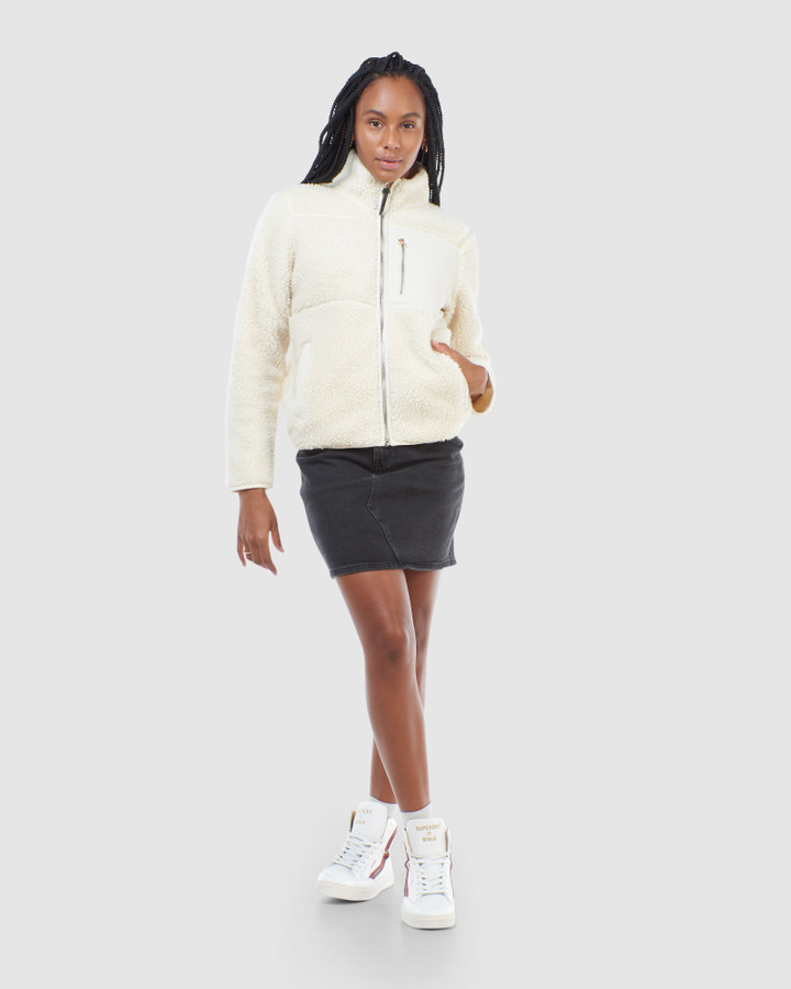 Superdry Storm Panel Borg Zip Through Pale Oatmeal