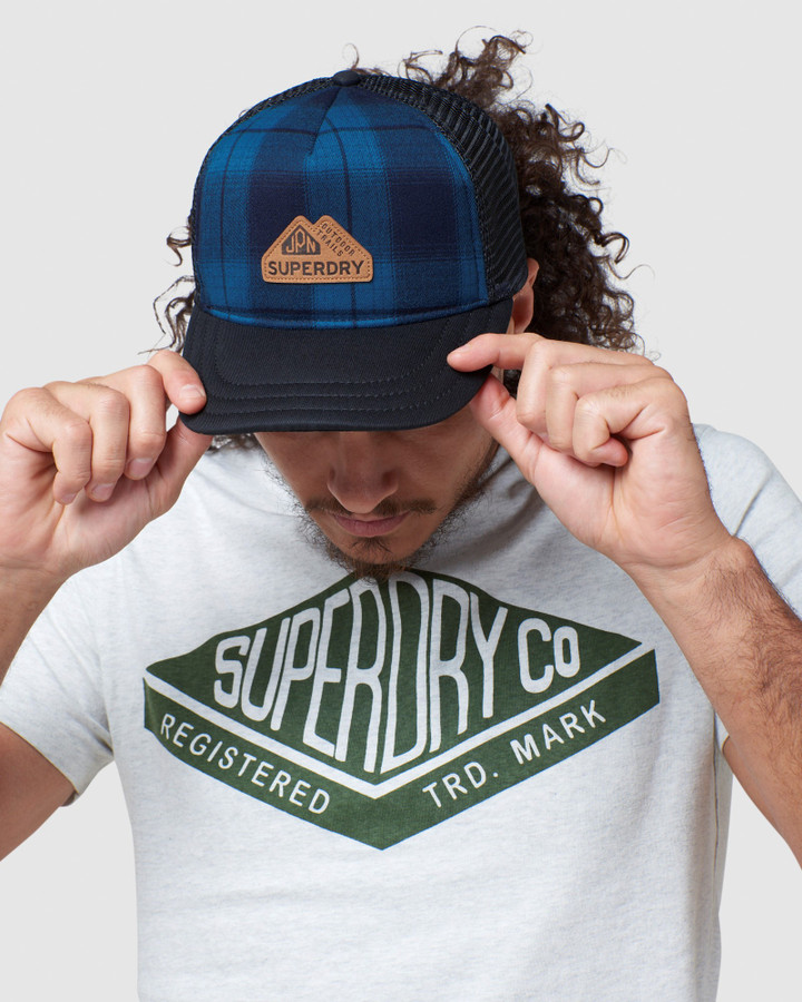 Superdry Vermont Trucker Cap Blue Check