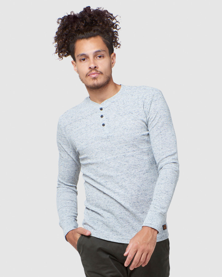 Superdry L/S Micro Texture Henley Grey Space Dye