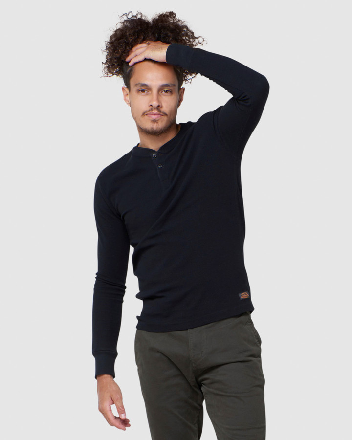 Superdry L/S Micro Texture Henley Black