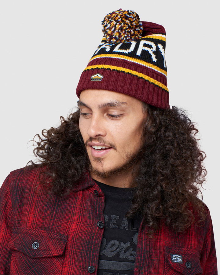 Superdry Superdry Logo Beanie Brooklyn Burgundy