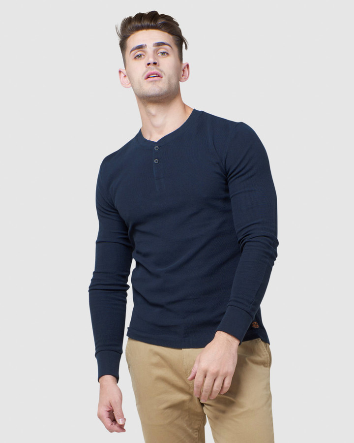 Superdry L/S Micro Texture Henley Nautical Navy