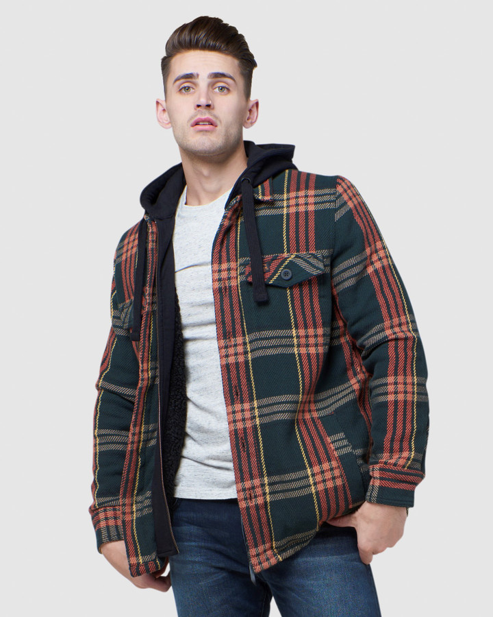 Superdry Expedition Hood Heather Green Check
