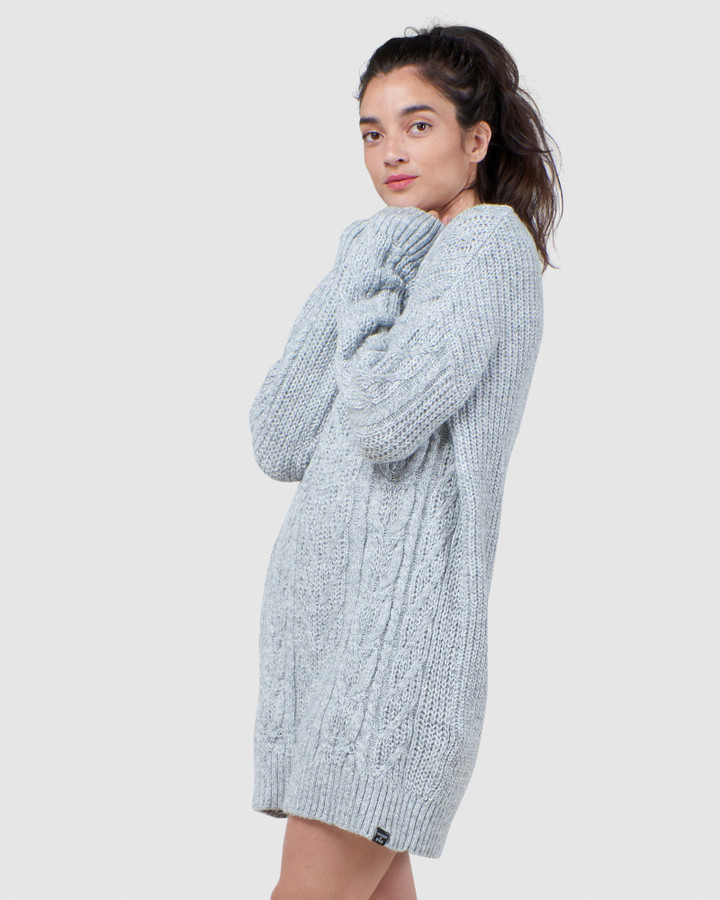 Superdry Florence Cable Dress Flecked Dove Grey