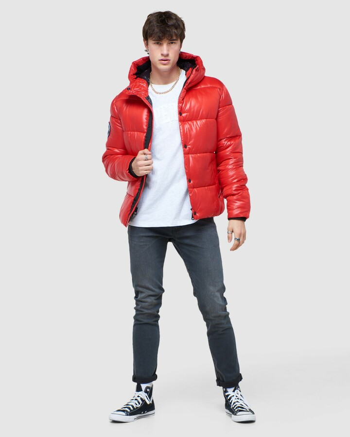 Superdry High Shine Padded Jacket Rouge Red