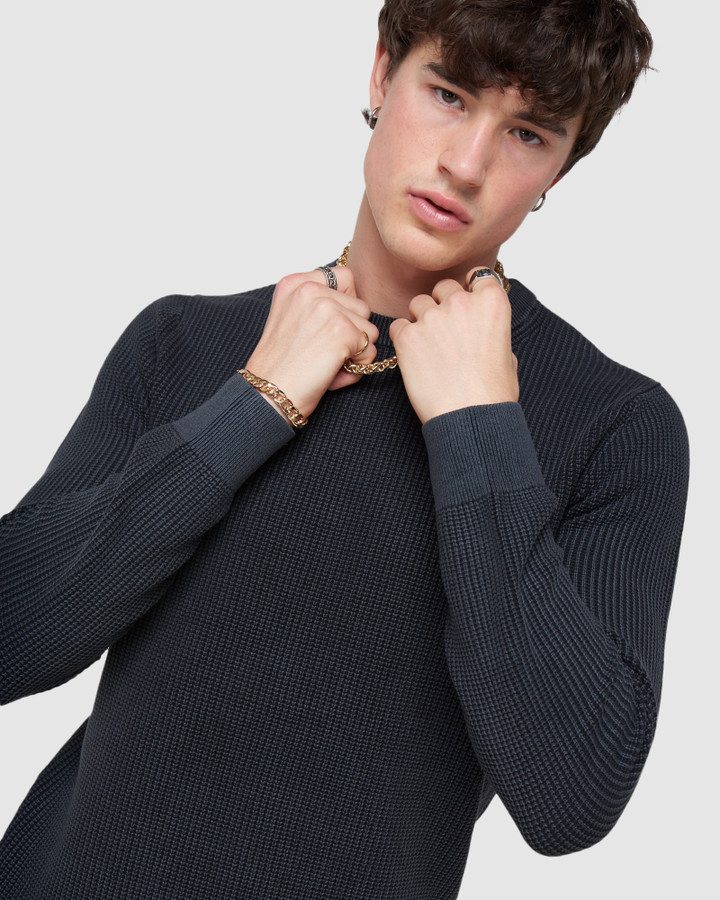 Superdry Academy Dyed Crew Washed Carbon Black