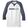 New Era® Sueded Cotton Blend 3/4-Sleeve Baseball Raglan Tee - True Navy Heather/White (Minimum Order Qty 12)