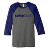 BELLA+CANVAS ® Unisex 3/4-Sleeve Baseball Tee - Grey/Navy TriBlend (Minimum Order Qty 12)