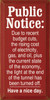 Public Notice: Due to recent budget cuts, the rising.. Fun Wood Sign  Sawdust City Wood Signs