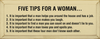 Five Tips For A Woman.. | Wood Sign With Bullet Points | Sawdust City Wood Signs