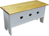 Rustic Knotty Pine Bench | Wood Storage Bench 3' Long | In Solid Cottage White and Stained Poly Top with heart cutouts