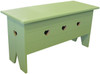 Rustic Knotty Pine Bench | Wood Storage Bench 3' Long | In Solid Celery with Optional Heart Cutouts