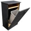 Large Wood Tilt-Out Trash Bin with Shelf | Solid Pine Furniture Made in USA | Sawdust City Trash Bin in Old Black