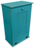 Large Wood Tilt-Out Trash Bin with Shelf | Solid Pine Furniture Made in USA | Sawdust City Trash Bin in Old Turquoise