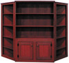 Two Corner Shelf Units shown in Old Burgundy with item #104 - Pine Hutch 4' Wide