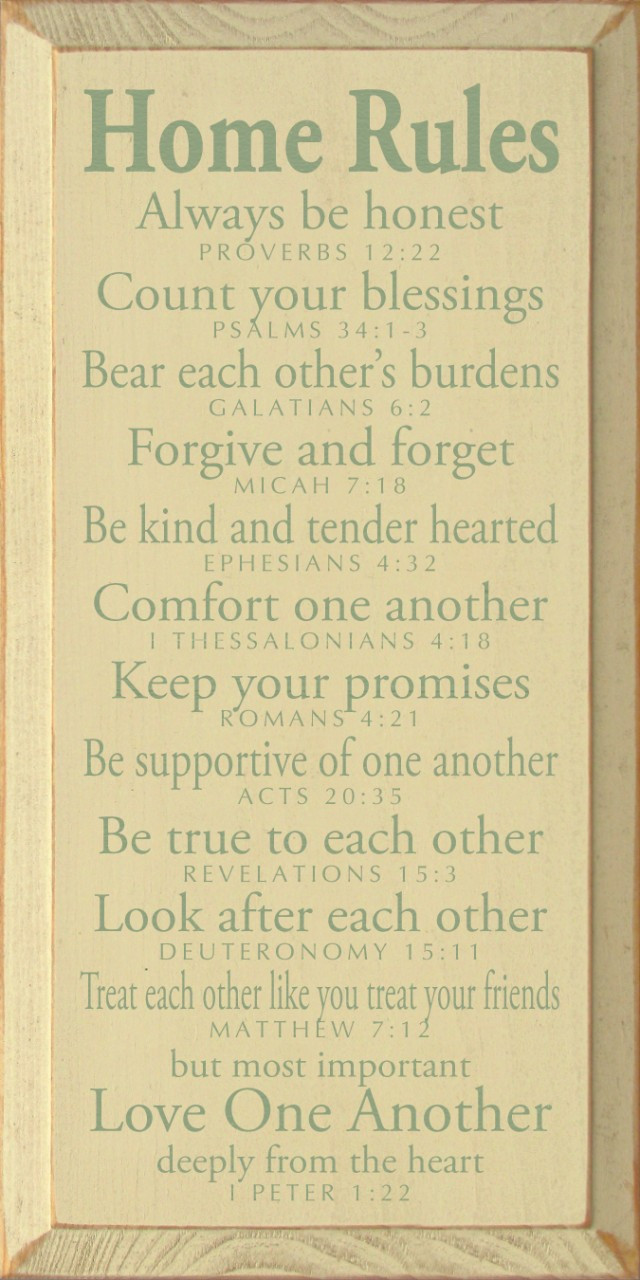 Home Rules - Always be honest - Proverbs 12:22…