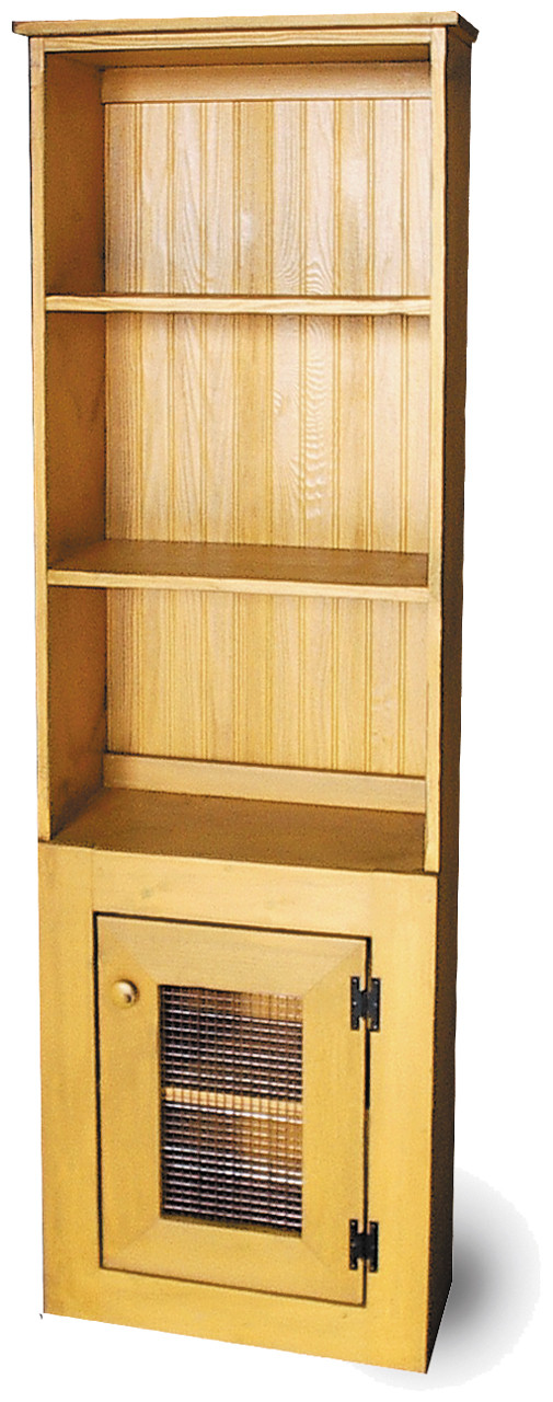 Straight Hutch Shown In Old Mustard With A Screen Door ...