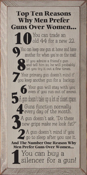 Top Ten Reasons Why Men Prefer Guns Over Women... |Funny Wood Sign| Sawdust City Wood Signs