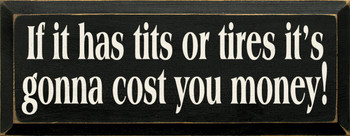 If it has tits or tires it's gonna cost you money! |Funny Wood Sign | Sawdust City Wood Signs