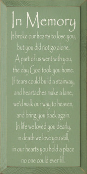 In Memory - It broke our hearts to lose you.. |Friends & Family Wood Sign | Sawdust City Wood Signs