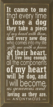 Popular Wooden Dog Sign | It Came To Me That Every Time I Lose A Dog | Sawdust City Sign in Old Brown & Cream