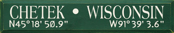 Shown with Sample City, State, and Coordinates in Old Green with Cream lettering