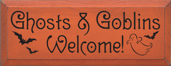 Ghosts & Goblins Welcome! |Halloween Wood Sign | Sawdust City Wood Signs