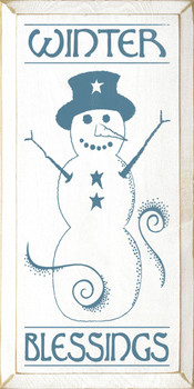 Winter Blessings (with snowman graphic) |Christmas Wood Sign| Sawdust City Wood Signs