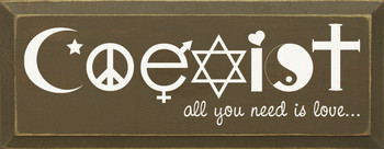 Coexist - all you need is love… |Love Wood Sign| Sawdust City Wood Signs