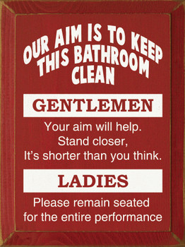 Our Aim Is To Keep This Bathroom Clean: Gentlemen.. |Funny Bathroom Wood Sign| Sawdust City Wood Signs