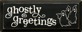Ghostly Greetings |Halloween Wood Sign| Sawdust City Wood Signs