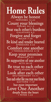 Home Rules - Always be honest - Proverbs 12:22...|Wood Sign With Bible Verses| Sawdust City Wood Signs