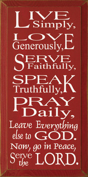 Live Simply Love Generously Serve Faithfully... Serve The Lord.|Christian Sayings Wood Sign| Sawdust City Wood Signs