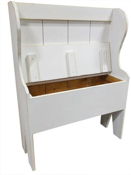 Open rustic Storage Bench | Deacon Bench Retail | In Old Cottage White