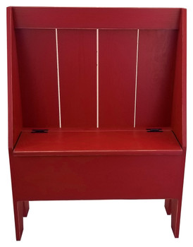 Solid knotty pine bench with storage | Retail Cantback Boot Bench | In Old Red