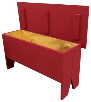 Open-view Rustic Knotty Pine Bench | Wood Storage Bench 3' Long | In Solid Red