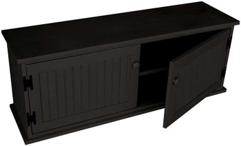 Knotty Pine Storage Unit with Shelf | Shoe Storage Bench | In Solid Black