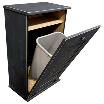 Large Wood Tilt-Out Trash Bin with Shelf | Solid Pine Furniture Made in USA | Sawdust City Trash Bin in Old Black