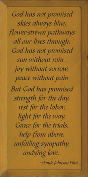 God Has Not Promised..  | Christian Wood Sign.. Skys Always Blue | Sawdust City Wood Signs