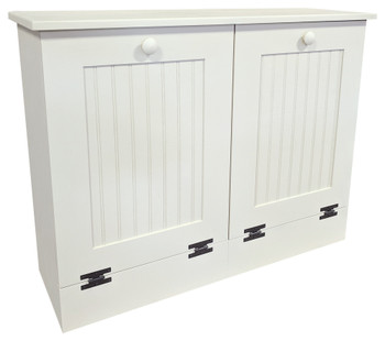Tilt-Out Trash & Recycling Bins Shown in Solid Cottage White