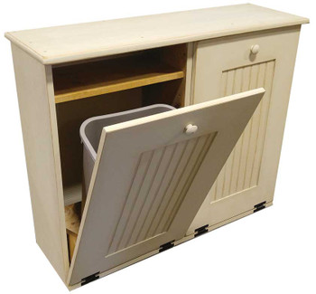 Attirant Wood Tilt Out Trash/Recycle Combo Shown In Old Cream