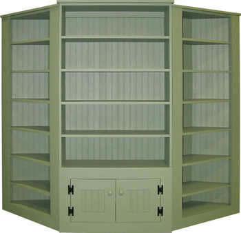 Two corner units shown paired with a 3 ft. Candle Hutch in Old Sage (each piece sold separately)