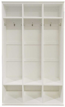 3-Section Wood Locker Unit | Wood Mudroom Storage | Sawdust City Storage Solid Cottage White